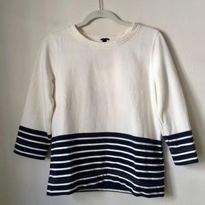 J. Crew white navy stripe nautical sweatshirt